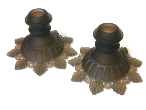 Vintage Westmoreland Petal and Ring Candlesticks Rare Brown Satin Color  circa early 1960's