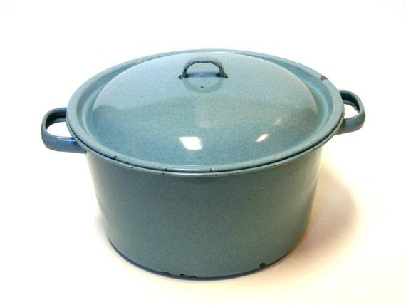 "Antique Graniteware Enamel Steamer Pot 10"" Robins Egg Blue  RARE"