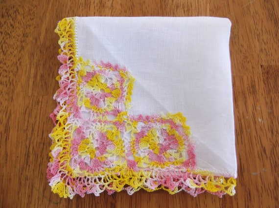 Vintage Cotton Handkerchief With Crochet Edging