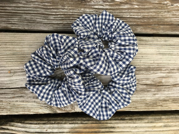 Cloth Scrunchie   Navy/White Check