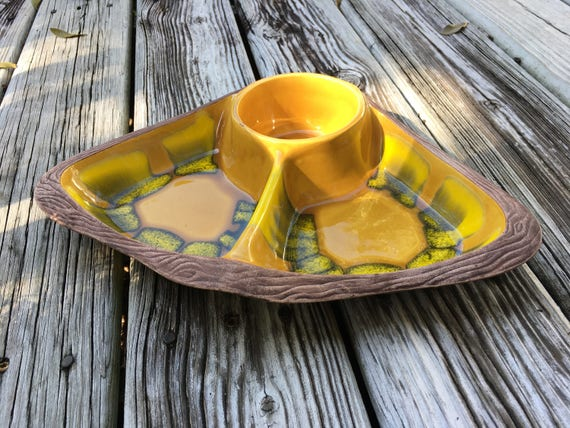 Mid Century Chip and Dip Bowl