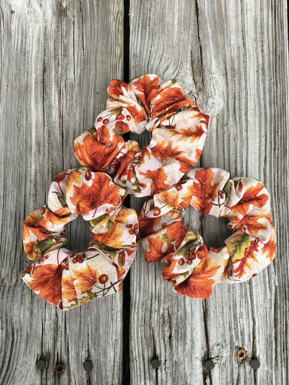 Cloth Scrunchie   Fall leaves