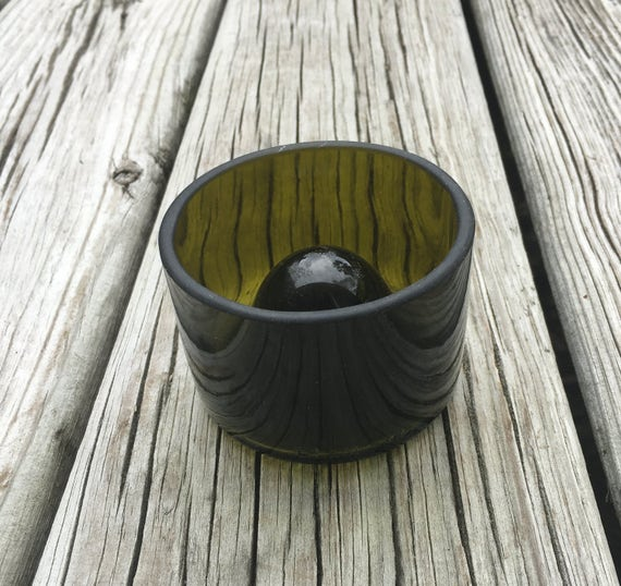 "Upcycled Wine Bottle Bowl  ""Rewined Collection""   Small Green"