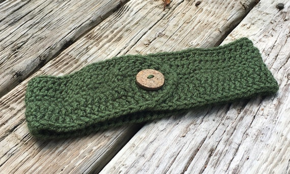 Crochet Ear Warmer with Coconut Button