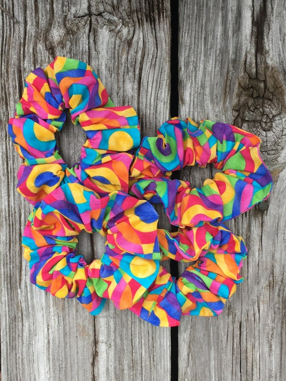 Cloth Scrunchie   Rainbow Brite