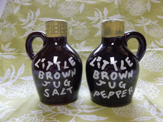 Vintage Little Brown Jug salt & pepper shaker  circa 1950's