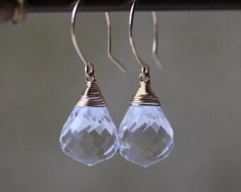 Clear Quartz Drop Earrings in 14K Gold Fill or Sterling Silver