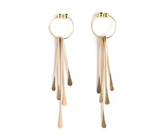 aae1aff98 Dangle Clip On Earrings | 5 Fringes - Gold / Silver - Dainty Non Pierced  Earrings - Elegant Ear Jewelry - Gift Under 100
