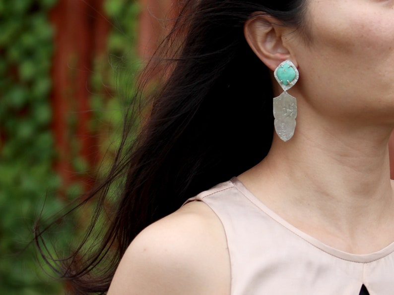 Variscite Jewelry Recycled Sterling Silver Silver Statement Clip Earrings
