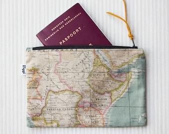 Zipper Travel Pouch, Passport Cover, Mens & Womens Travelers Zipper Wallet, World Map Bag, Wanderlust Nomad Purse, Inclined to Travel