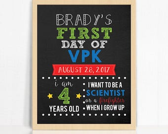 personalized first day of vpk printable sign first day of school sign printable chalkboard back to school sign printable vpk sign