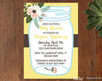floral cottage chic and yellow gingham mason jar printable invitations cottage chic bridal shower invitations personalized invitations