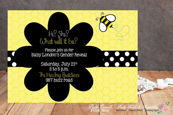 Printable Buzzing Bee Gender Reveal Invitations Personalized