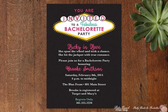 las vegas bachelorette party printable invitations casino birthday