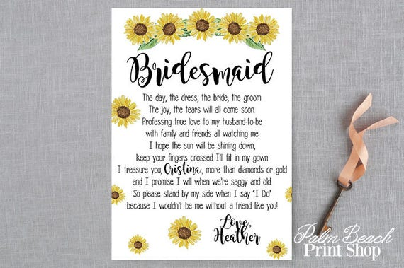 Items Similar To Personalized Bridal Party Poem