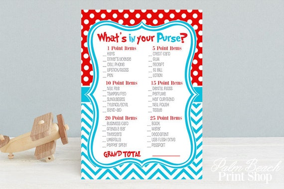 What S In Your Purse Printable Baby Shower Game Dr Seuss Inspired