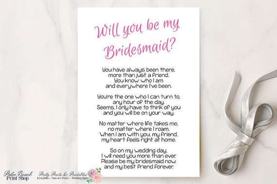 Will You Be My Bridesmaid Printable Poem Bridesmaid Printable Poem Diy Bridesmaid Gift Idea Bridesmaid Card