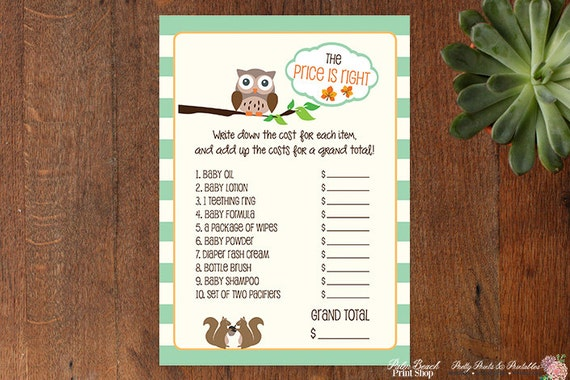 Woodland Owl Themed Baby Shower Printable Game