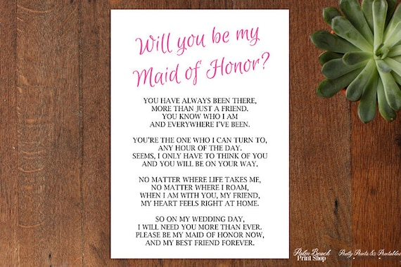 will you be my maid of honor poem instant download maid etsy