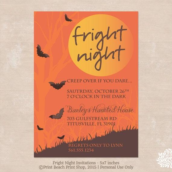 fright night printable halloween costume party invitations etsy
