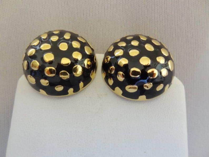 JOHN Enamel /& Gold-tone Clip Earrings 1980/'s Vintage ST