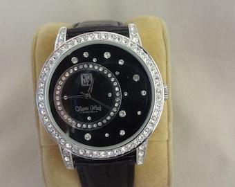 Stunning VICTORIA WIECK Jeweled Black Watch/Original Leather Band
