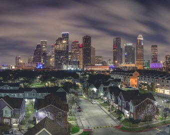 Panorama - Downtown Houston at Night - Fine Art Panoramic Photograph