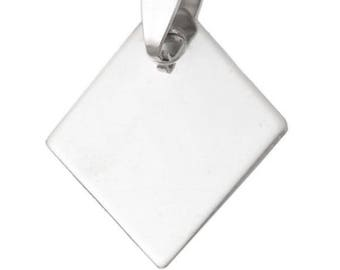 Diamond shaped stainless steel 21 x 25 mm with or without engraving