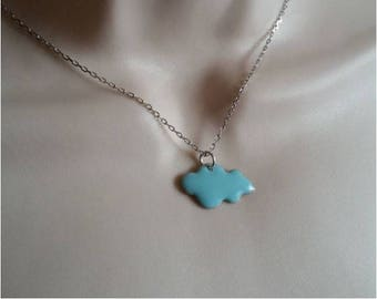 Necklace cloud sky blue and silver chain