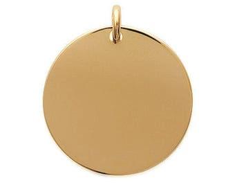 Médaille ronde 27 mm en plaqué or pendentif à graver avec ou sans gravure ad53f16a2f44