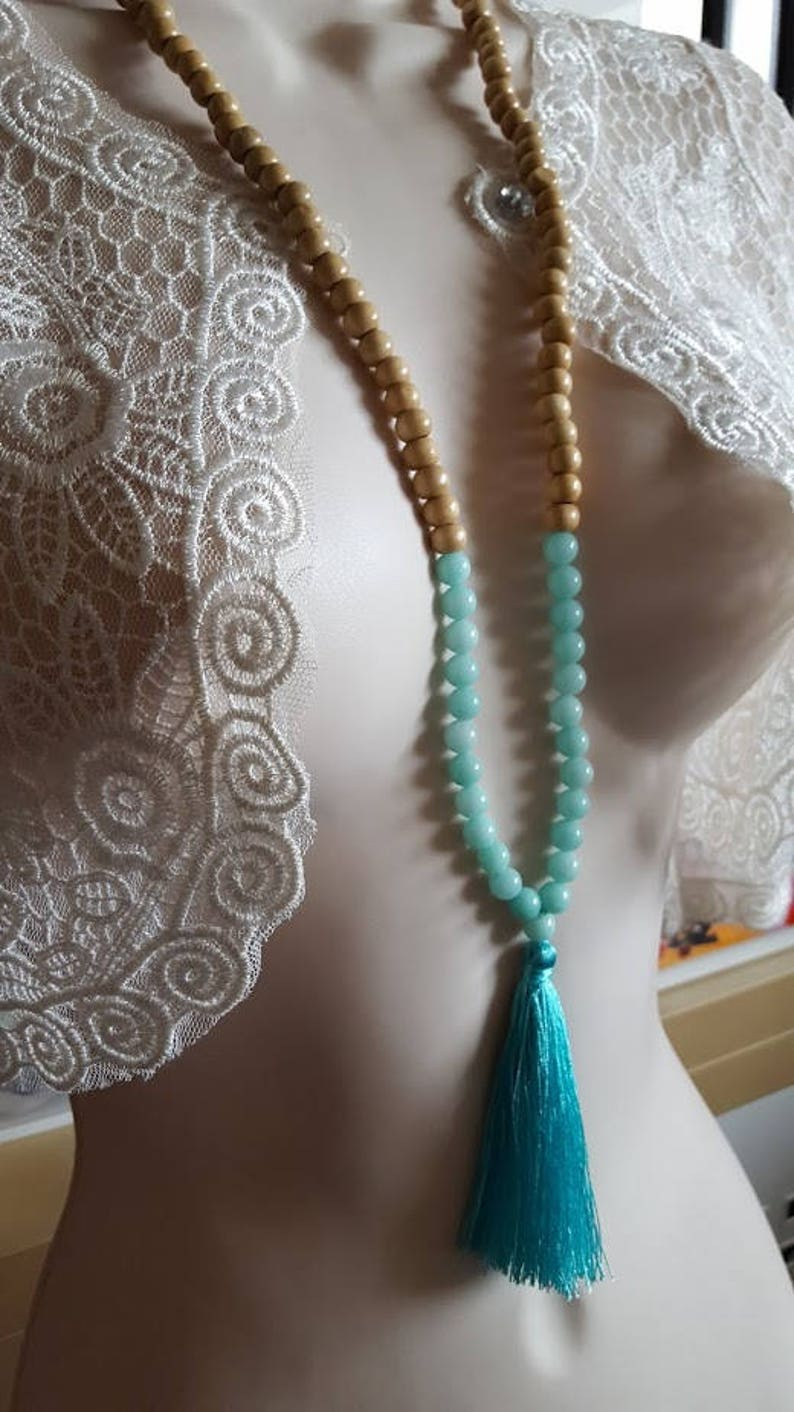 Necklace long necklace wooden beads and large tassel and amazonite gemstone