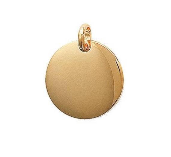 Pendentif à graver médaille ronde épaisse 20 mm en plaqué or   Etsy 16c75c410746