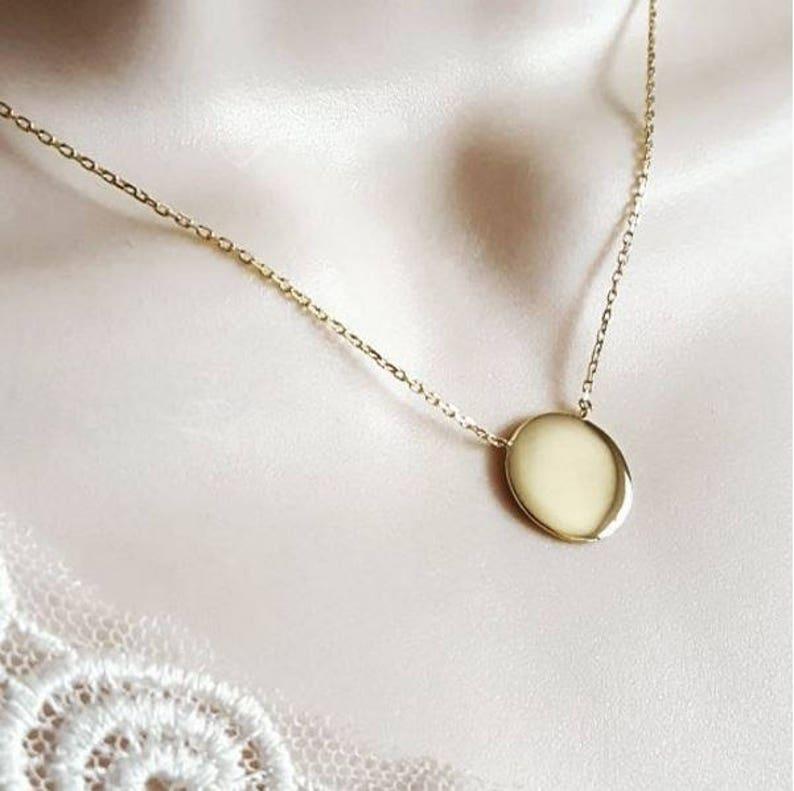 ea01660622343 Collier médaille ronde 15 mm à graver en plaqué or avec ou | Etsy