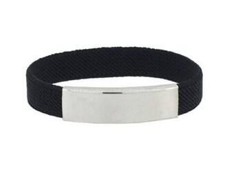 Elastic bracelet with steel engraving plate