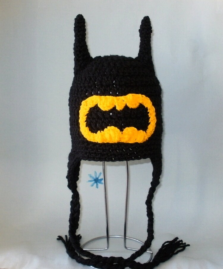Crochet Pattern Pdf Batman Hat Beanie And Earflap All Sizes Etsy