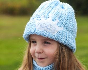 5965449ef83 Princess Hat and Scarf  Princess Hat  Cinderella Hat  Blue Hat  Girls  Winter Hat  Blue Scarf  Girls Hat  Crown