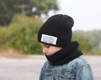 c13e98e3 Cool Dude Beanie with cowl scarf/ Boys winter hat/ Crocheted hat/ Cowl scarf/  Cool Dude/ Boys winter hat/