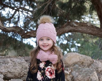 Blush Pink Beanie and Scarf  Pom Pom Beanie  Bow Infinity Scarf  Girls  Winter Hat  Girls scarf  Womens hat  Infinity scaf  e05d382e1d7