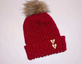 00ae2eefaccd1 Red pom pom hat  Girls red hat  girls pom pom hat  red hat  girls winter hat   crocheted hat