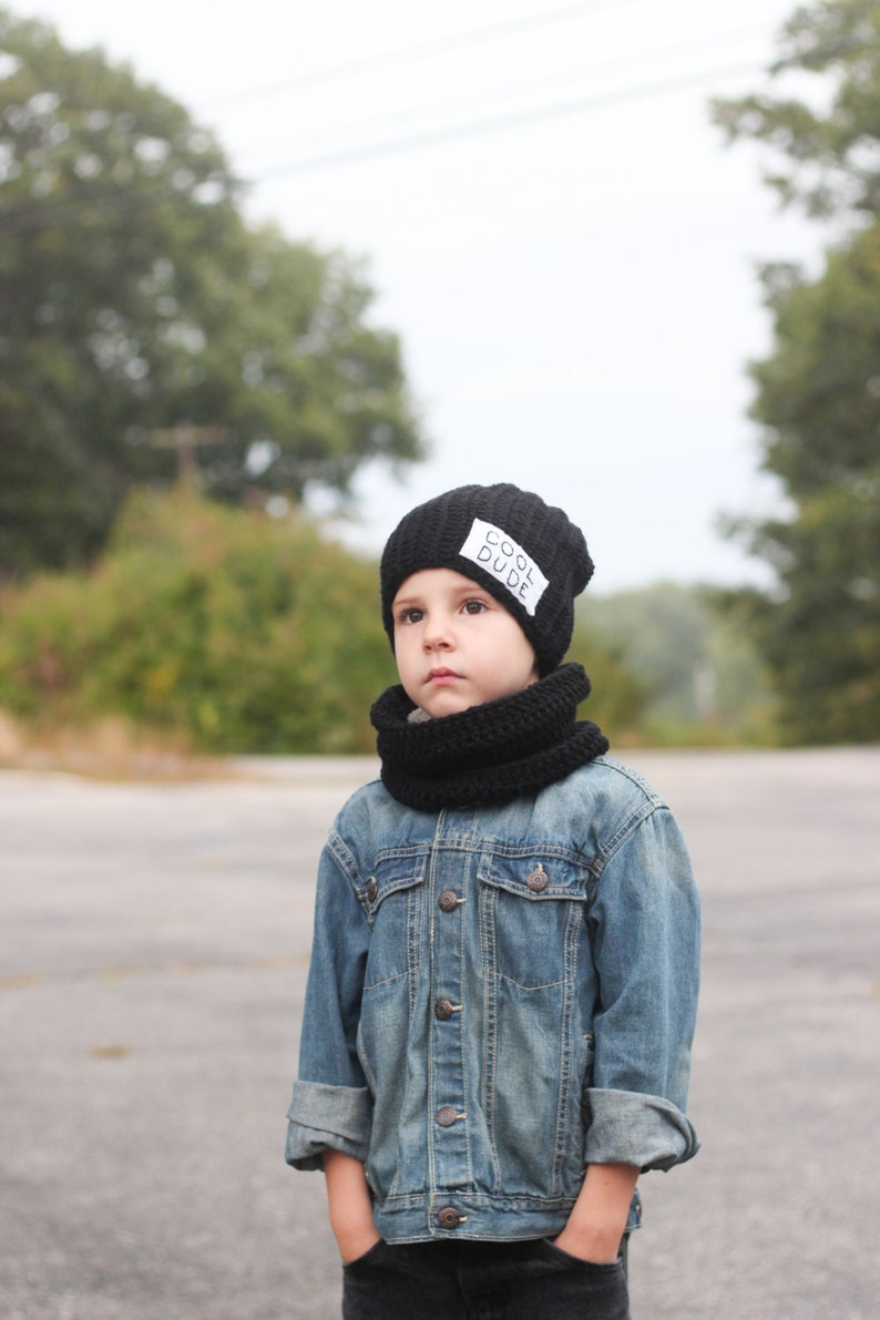 2d52b444 ... Cool Dude Beanie with cowl scarf/ Boys winter hat/ Crocheted image 3