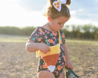 Candy Corn purse/ Candy Corn Bow/ Fall outfit/ girls purse/ crocheted bow