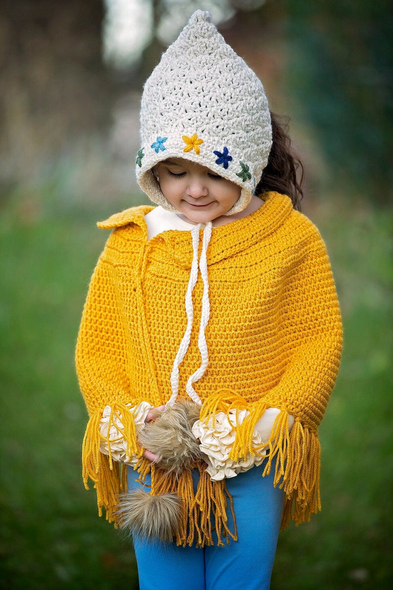 Mustard poncho girls ponch crocheted poncho fall poncho sweater girls outfit