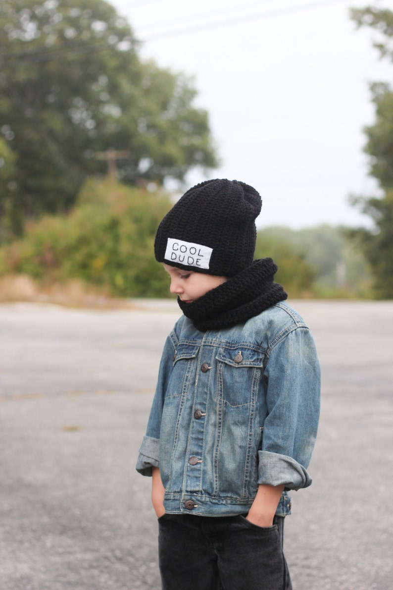 6cdc61e2 Cool Dude Beanie with cowl scarf/ Boys winter hat/ Crocheted image 0 ...