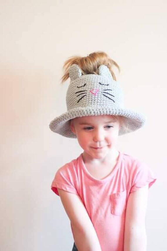 Kitty bun Sun Hat  bun hat  ponytail hat  Girls sun Hat  Kitty  3762be51f34