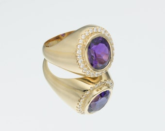 Amethyst Circle Ring * Gold circle Ring * Natural Amethyst ring