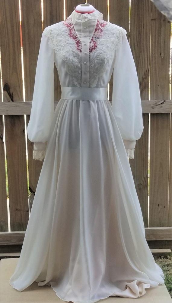 Vintage ivory high neck lace bishop sleeve wedding