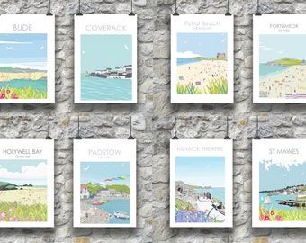 Pack of 8 Cornwall Postcards inc St Mawes, Padstow, Minack, Bude, Holywell, Porthmeor, Fistral, Coverack
