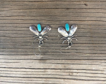 Vintage Dragonfly  Turquoise and silver  earrings