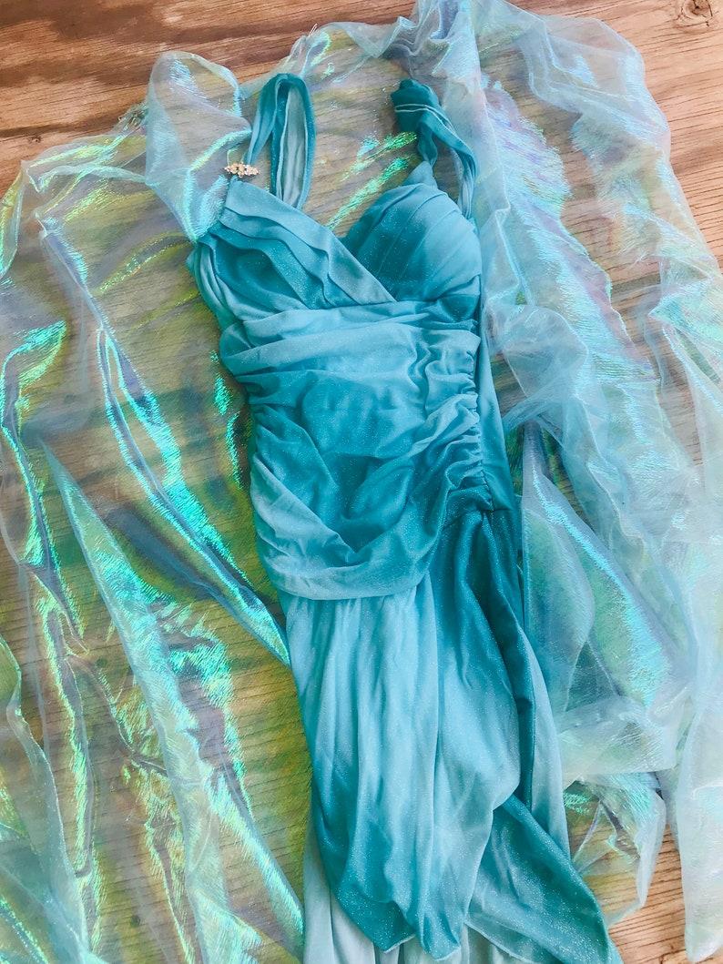 Frozen Elsa Halloween Dress Aqua Glitter Gown Handmade Ice Etsy