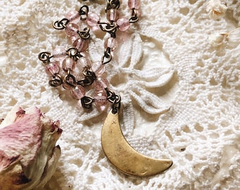 Pink Glass Hammered Brass Crescent Moon Dainty Necklace